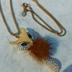 Jewelry - Long fox pendant with rhinestones